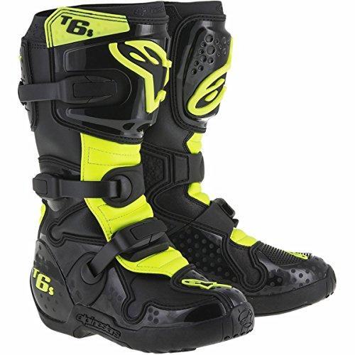 Alpinestars Tech 6S Boy's Off-Road Motorcycle Boots - Black/Yellow / 7