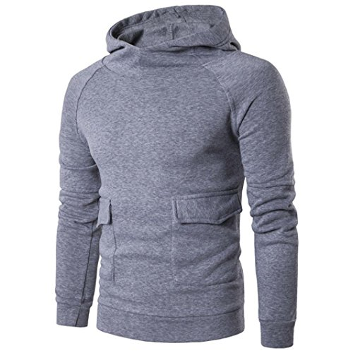 Mens Shirt,Han Shi Fashion Long Sleeve Pocket Casual Cotton T-shirts Hoodie Tops Daily Chemise (M, Grey) (Chemise Music)