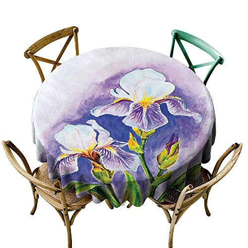 (longbuyer Round Tablecloth Wood Watercolor Flower,Painting of Iris Flower Spring Season Blooming Plant Nature Art,Violet Green Blue D70,for Accent Table)
