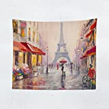 Paris Wall Tapestry - Eiffel Tower France Landscape Romantic Tapestries Hanging Décor Bedroom Dorm College Living Room Home Art Print Decoration - Printed in the USA - Small Medium Large