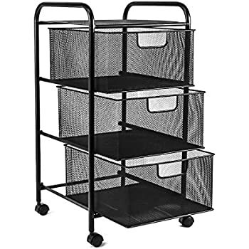 YIMU Mesh File Cart With 3 Storage Drawers, 3 Tier Metal Office Supply  Rolling Cart