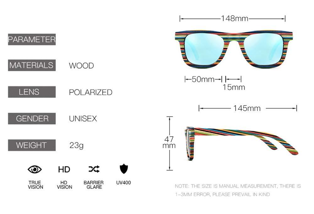 UV400 Schutz mit Bambus Box HSRG Bunte polarisierte Sonnenbrille Frauen handgefertigte Holzbrillen f/ür das Angeln Fahren