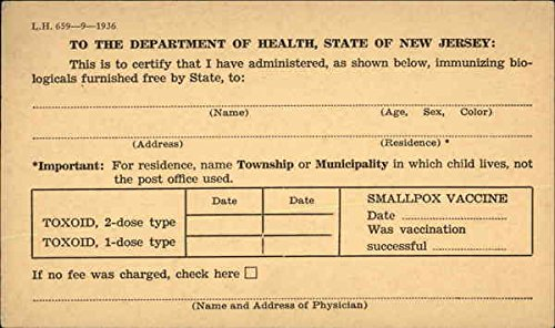 state-department-of-health-immunization-card-trenton-new-jersey-original-vintage-postcard