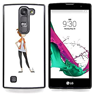 Eason Shop / Premium SLIM PC / Aliminium Casa Carcasa Funda Case Bandera Cover - White Girl minimalista - For LG G4c Curve H522Y ( G4 MINI , NOT FOR LG G4 )