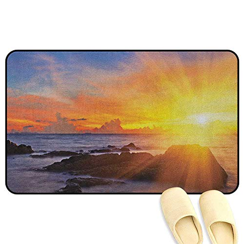 (Beach Office Comfort Standing Mat Colorful Sunset with Light Romance in The Sky at Tropic Beach Fantasy Landscape Orange Blue Decorative Floor Mat W19 x L31 INCH)