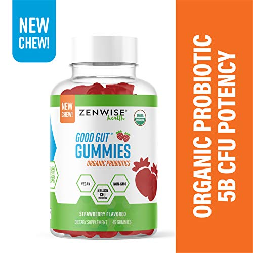 USDA Organic Probiotic Gummies – 5 Billion CFU Vegan Probiotics for Digestive Health – Gas, Bloating, Constipation & Diarrhea Relief – Immune, Metabolism & Urinary Tract Aid – 45 Strawberry Chewables