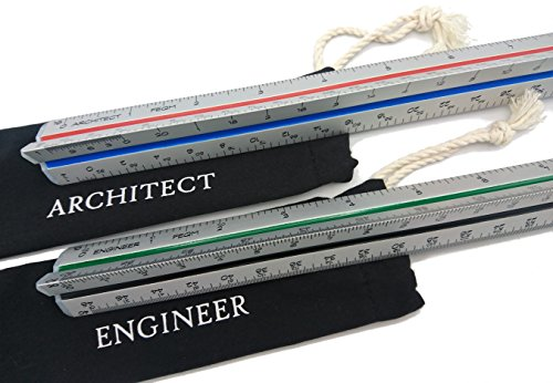 Ruler Drafting (Architect (Imperial) Scale and Engineer Scale Set - Two 12 inch Aluminum Triangular Scale Rulers with Protective Sleeves)