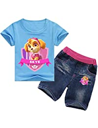 Indepence Life Girls' Paw Patrol 2-Piece Short Sleeve T-Shirt with Short Jeans Youth Summer Clothing Pant Set