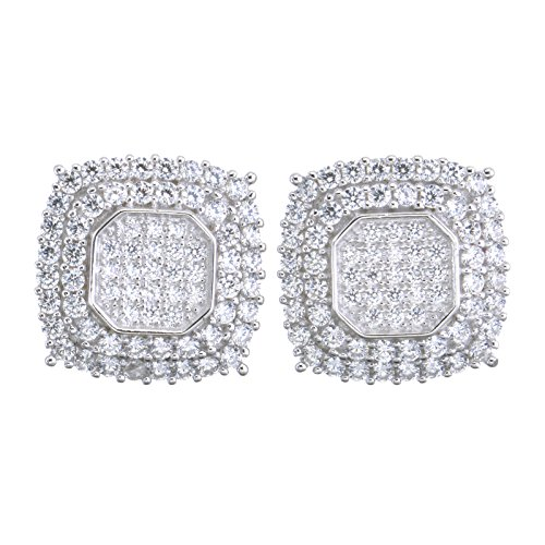 - Fashion Luxury Iced Out Men's Sterling Silver Screw Back Earrings 474 S