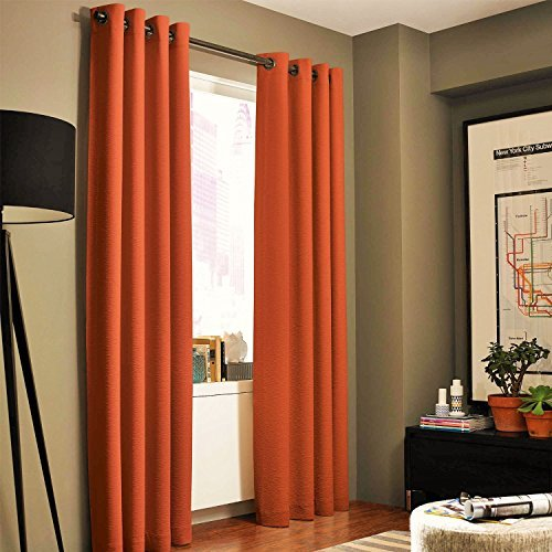 Gorgeous Home *DIFFERENT SOLID COLORS & SIZES* (#72) 1 PANEL SOLID THERMAL FOAM LINED BLACKOUT HEAVY THICK WINDOW CURTAIN DRAPES BRONZE GROMMETS (ORANGE, 95
