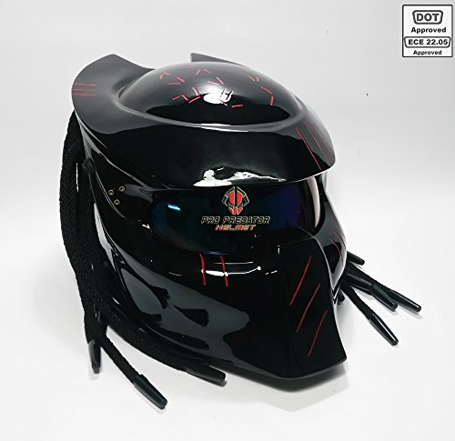 Pro Predator Motorcycle DOT Approved Helmet Shine Black Style include Tri Laser ()