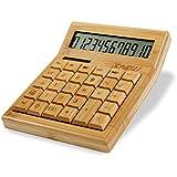 Sengu Functional Desktop Calculator Solar Power Bamboo Calculators with 12-digit Large Display