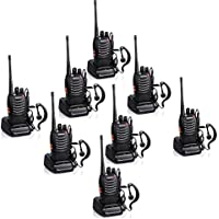 Baofeng BF-888S Rechargeable 3 Miles (5 km) Long Range 5W Two Way Radio Walkie Talkies 16 Channel Handheld Radio Built in LED Torch Microphone With Earpiece(Pack of 8) 8 Pack
