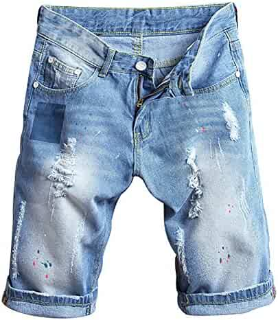 281f1ca313 SUSIELADY Men's Denim Shorts Moto Biker Jean Pants 5 Pocket Casual Ripped  Distressed with Hole for