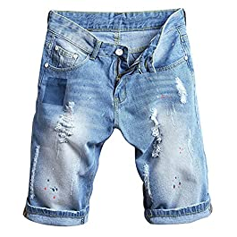 SUSIELADY Men's Denim Shorts Moto Biker Jean Pants 5 Pocket Casual Ripped Distressed with Hole for Men Summer