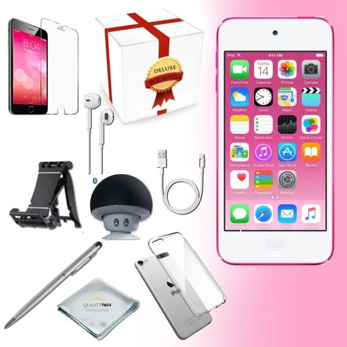 generation Music player, 32GB -PINK- w/ iTouch Accessory Kit includes; Bluetooth Speaker + Clear Case & Screen Protector + ipod 5-Angle Adjustable Stand + iPod Stylus Pen + Cloth (Itouch Ipod Video)
