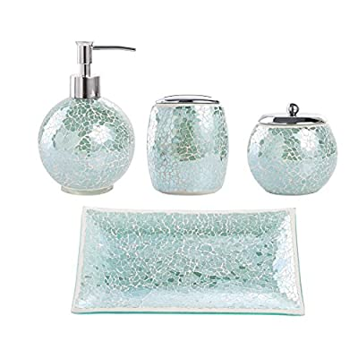 Whole Housewares Bathroom Accessories Set, 4-Piece Glass Mosaic Bath Accessory Completes with Lotion Dispenser/Soap Pump, Cotton Jar, Vanity Tray, Toothbrush Holder (Turquoise) - Handmade Crackle Mosaic Glass in Modern and Beautiful Color. High Quality Plastic Pump and Metal Accessories with Perfect Plating Coating for Durable Using. Capacity of the Lotion Dispenser: 14 Ounze - bathroom-accessory-sets, bathroom-accessories, bathroom - 512MPESpxNL. SS400  -