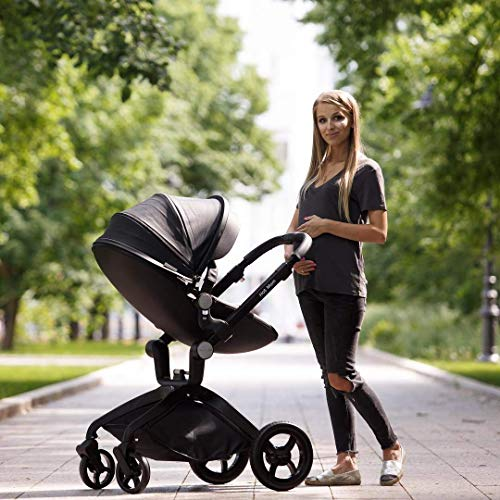 512MPMJdD7L - Baby Stroller In 2020,Hot Mom Baby Carriage With Adjustable Seat Height Angle And Four-Wheel Shock Absorption,Reversible,High Landscape And Fashional Pram,Black