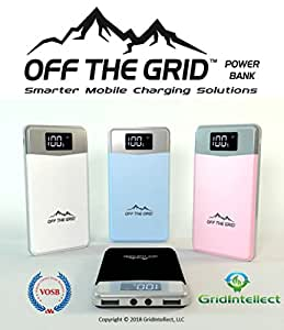 Wireless Qi-compliant Off-the-Grid 10000 mAh fast-charging Power Bank for iOS and Android, digital display stitched leather case, and microUSB/lightning charge cable