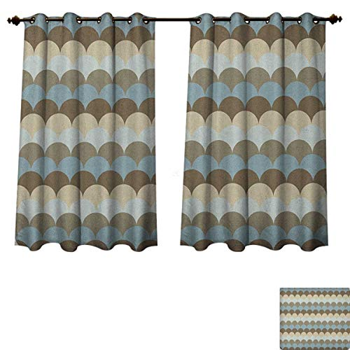 Pearl Oval Shaped Slide - PriceTextile Geometric Blackout Curtains Panels for Bedroom Circular Patterned Sea Concept Oval Shaped Wave Design Nautical Inspirations Decorative Curtains for Living Room Multicolor Size W72 xL84