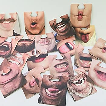 Funny Face Coasters Face Mats - PigBoss Party Fun Faces Coasters Drinking Paper Coasters You Can Wear Face Mat Bar Beer Paper Coaster Party Face Coasters Set of 10 (20 fun faces)
