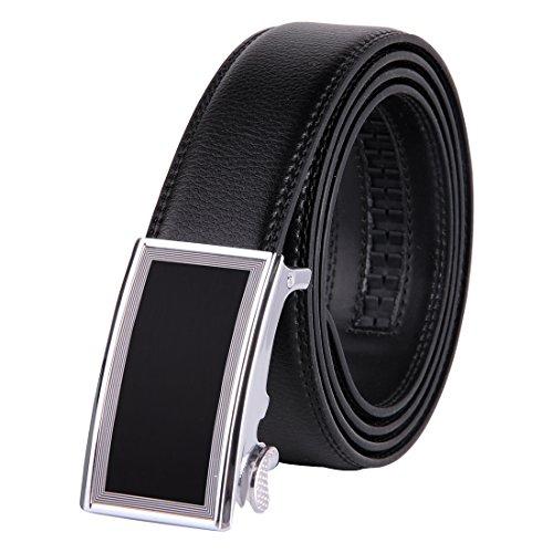 JINIU Men's Leather Belt Automatic Buckle 35mm Ratchet Dress Black Belts Boxed KT21