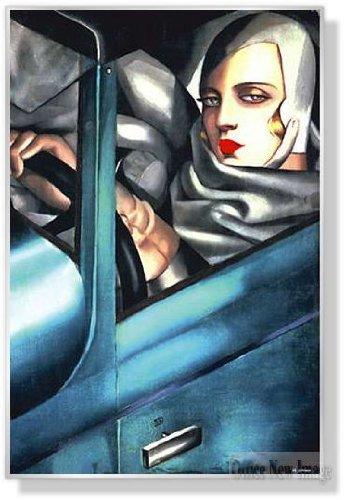 タマラドレンピッカ Autoportrait 1925 【ポスター+フレーム】91x61cm シルバー B003PASH8Eシルバー