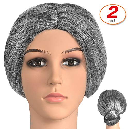 2 Set Old Lady Costume Wig Granny Grey Bun Wig Accessories for Dress Up (Lady Costume Wig) -