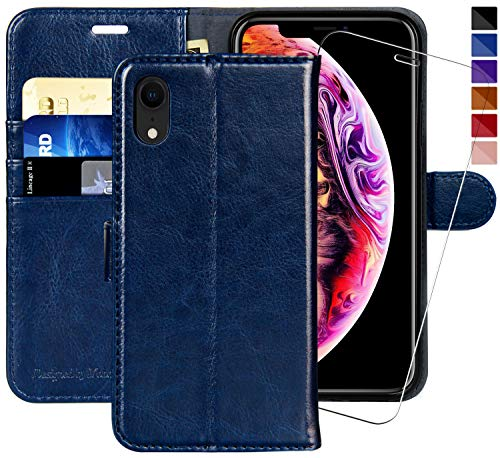 (iPhone XR Wallet Case,6.1-inch,MONASAY [Glass Screen Protector Included] Flip Folio Leather Cell Phone Cover with Credit Card Holder for Apple iPhone)
