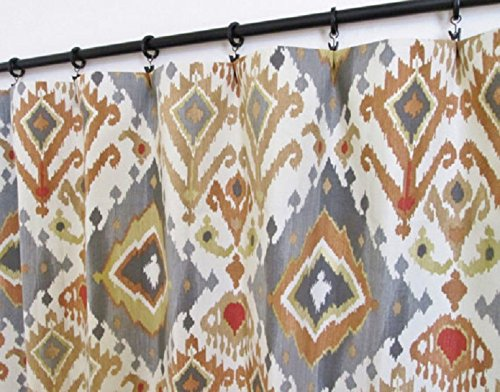 Pair of rod curtains 50'' wide panels spice gray rust gold ikat cream window treatment nursery cotton drapes 84 96 108