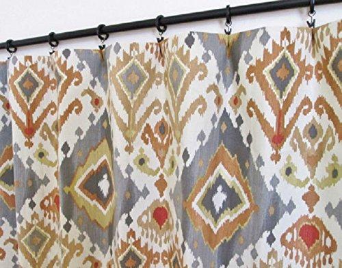 Pair of rod curtains 50'' wide panels spice gray rust gold ikat cream window treatment nursery cotton drapes 84 96 108