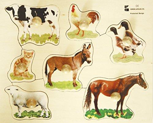Edushape Large Knob Puzzle Farm Animal, 4 Piece