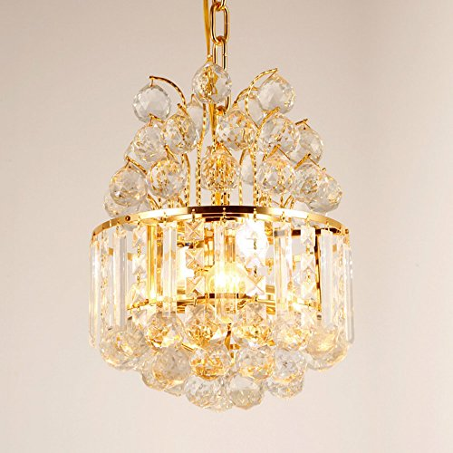 LIGH-THS Ceiling Crystal Drop Gold Chandelier for Living Room Bedroom Balcony Aisle Lights Corridor Modern Pendent Lamp ()
