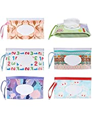 Susimond 6pcs Portable Wet Wipe Pouch Dispenser, Refillable Reusable Wipe Holder, Eco Friendly Baby Wipes Dispenser Container, Travel Wet Wipe Container for Travel, Strollers, Backpacks