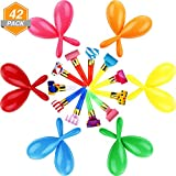 Gejoy 30 Pieces Neon Maracas Shakers Mini Noisemaker and 12 Pieces Blowouts Whistles for Party Favors, Assorted Colors