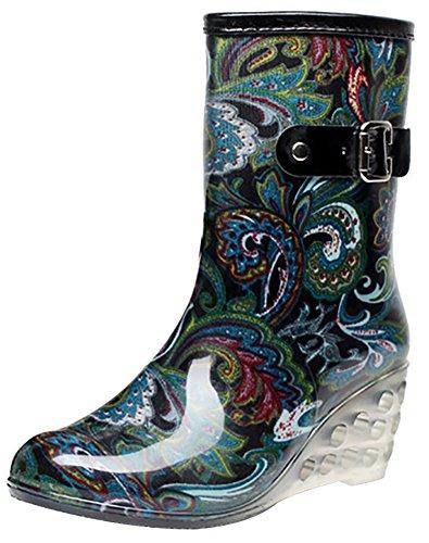 Odema Women's Buckle Side Zipper Wedge Mid Calf Rain Boots