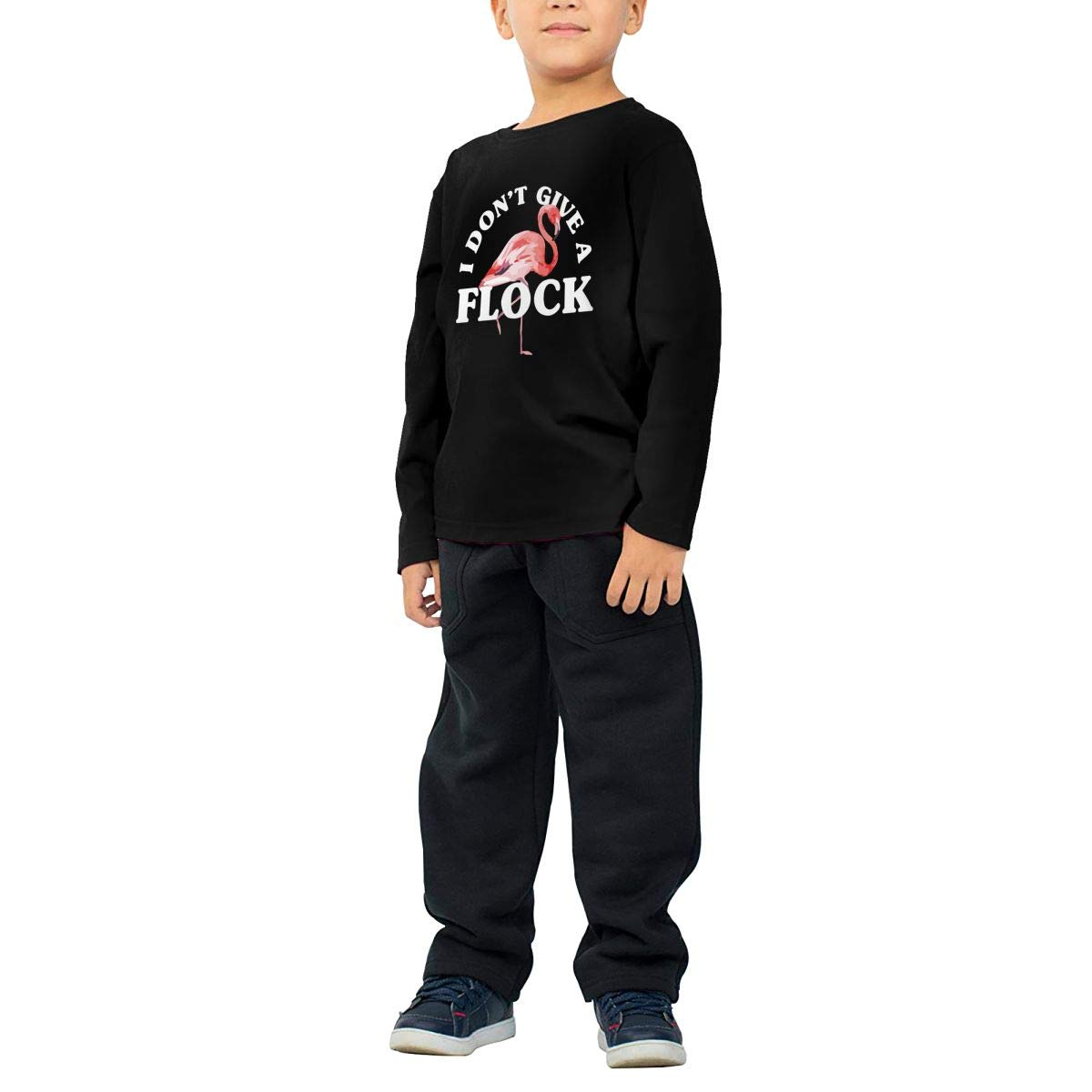 Baby Boys Kids I Dont Give A Flock Flamingo Printed Long Sleeve 100/% Cotton Infants T Shirts