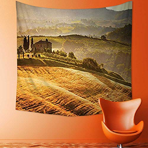 Printsonne Popular Art Tapestry Siena Tuscany Vineyard Retro Farmhouse Cypress Trees and Sunset Picture Accessories Room Bedroom Living Room Dormitory Decoration ()