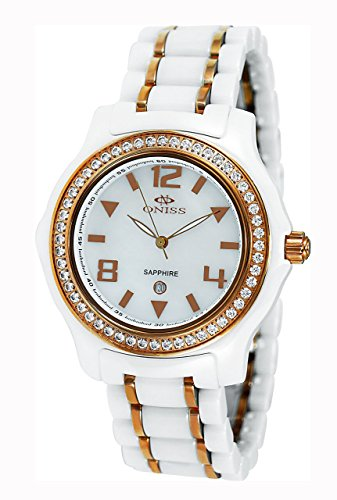 Oniss Swiss Movement - Oniss Paris Women'S ON806-Lrg Wht  Ladies, High Tech Ceramic Case and Band with Stainless Steel Middle Links ,Ip Rose Plating ,Swiss Movement, Sapphire Crystal, Mop Dial,52 Austrian Crystals on Bezel - Blue Watch