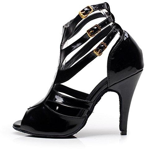 TDA Womens Stiletto High Peep Toe Cut-out Salsa Tango Ballroom Latin Modern Dance Wedding Shoes 10cm Heel Black ZPGrHgG8X