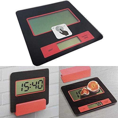 Digitale Küchen-Waage mit Wandhalterung Digital-Waage 2g - 5000g elektronische Waage mit Batterien LCS Display Sicherheitsglas-Platte Brief-Waage auch als Küchenuhr verwendbar