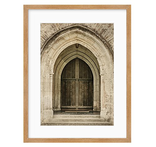 Framed Photographic Print, Gothic Wall Art, Arched Doorway Photography, Old World Stone Architecture Picture, Castle Doorway'