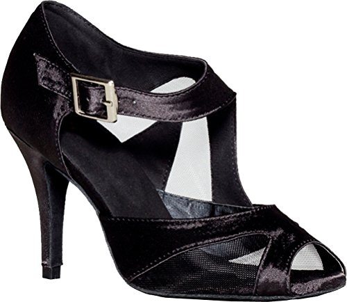 Mesh Ventilate Professional Black Custom Salabobo D'orsay Heel Dance Shoes Cha Satin cha Womens Latin paxxEqSw