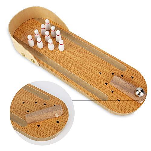 Tearcam Desktop Bowling Game, Wooden Mini Bowling Game