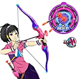 Bow and Arrow for Kids Teens, Kids Toys Bow and Arrow Archery Set for 6 Up Year Old Girls Soft Power Safe Children Indoor Outdoor Garden Fun Hunting Game with 3 Suction Cup Arrows, Paper Target and A