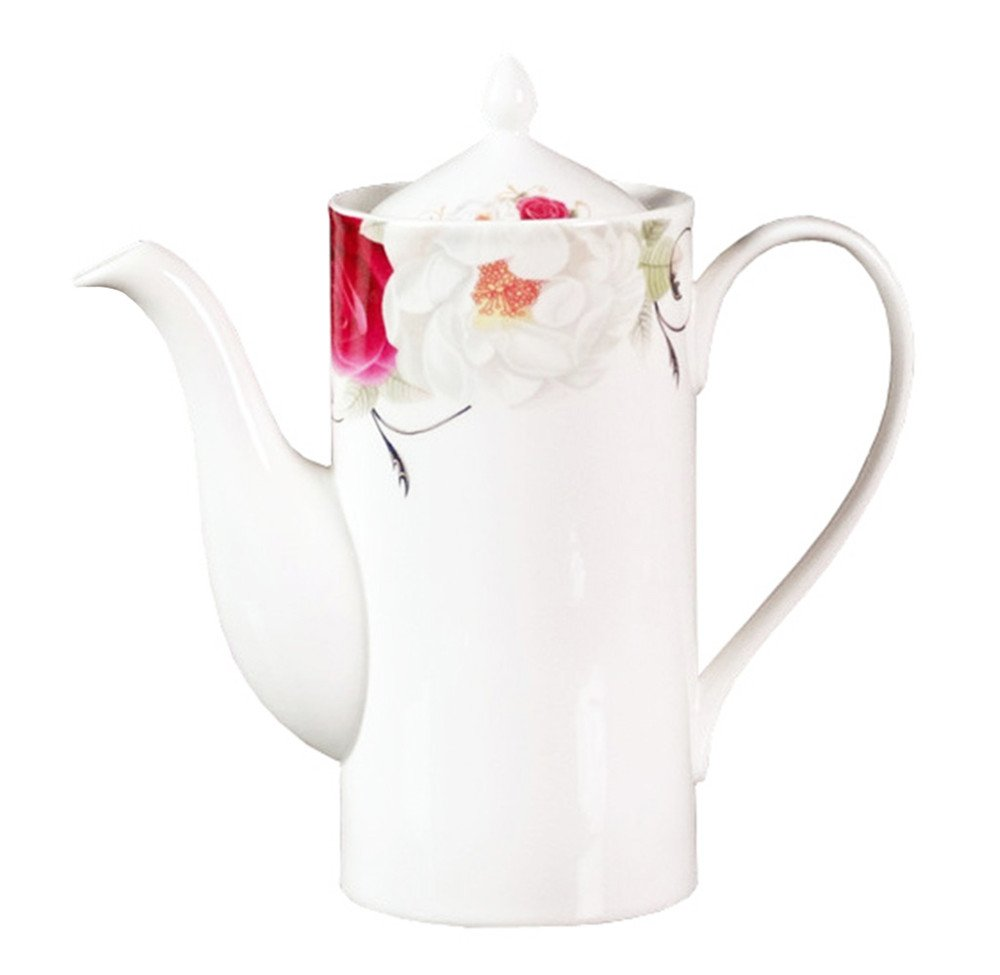 Bone China Ceramic Teapot Coffee Pot,Flower,White And Red doublebulls DT024