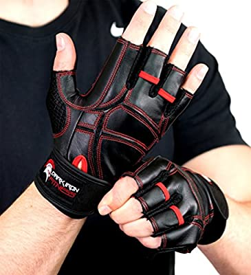 Leather Work Out Gloves for Weight Lifting - Top Men and Womens Weightlifting Gym Glove for Barbell Exercise Workouts - Extra Soft Protective Grips for Comfortable Workout Grip with Lock In Wrist Wrap