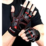 Dark Iron Fitness Large Men's Gloves fitnes Workout execise Lightweight Exercise Gym glooves Foam Padding Tight Support Wraps Dumbbell excersise wieght Lifting top Men Womens Weightlifting Gym Glove