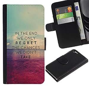 Billetera de Cuero Caso Titular de la tarjeta Carcasa Funda para Apple Iphone 5 / 5S / sunset regret chances missed take / STRONG