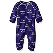 OuterStuff NFL Baltimore Ravens Newborn Boys Sleepwear All Over Print Zip Up Coveralls, 3 Months, Rave Purple